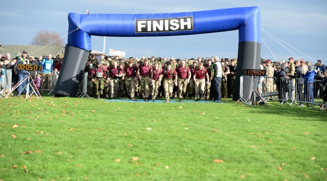 More than 900 runners and tabbers are entered for the PARAS' 10 charity challenge in Colchester on Sunday (15 Nov).  A mix of civilians and soldiers are taking part in the 10-mile run, which can be completed as a cross-country race in trainers or as the P Company Challenge, wearing boots, trousers and carrying a 35lb rucksack – known as tabbing. With a target to finish within 1hr 50mins, the challenge replicates one of the key fitness tests for the Parachute Regiment and Airborne Forces.  The tabbers and runners will set off from Abbey Field, passing through Merville Barracks and Friday Woods over the same hills and water obstacles crossed by the town's soldiers on training runs.  Profits from entrance fees raise money for The Parachute Regiment Charity, which supports Paras and their families who are in need, but participants are free to collect sponsorship for any charity.  The event - the fourth time it is running in Colchester - was originally scheduled for July, but rescheduled due to extremely hot and humid weather.  NOTE TO DESKS:  MoD release authorised handout images.  All images remain crown copyright.  Photo credit to read - Corporal Andy Reddy RLC  Email: andyreddy@mediaops.army.mod.uk richardwatt@mediaops.army.mod.uk shanewilkinson@mediaops.army.mod.uk