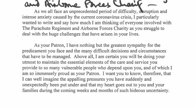 Letter from HRH Prince Charles
